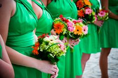 kelly green bridesmaids with gerbera bouquets Gerbera Daisy Themed Wedding in Naples Florida