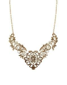 ASOS | ASOS Delicate Lace Effect Metal Filigree Short Necklace at ASOS - StyleSays