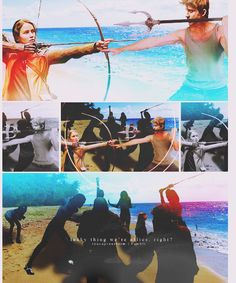 Finnick vs. Katniss on the beach of the Catching Fire arena.