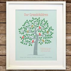 Your place to buy and sell all things handmade Grandparents Christmas Gifts, Grandparent Gifts, Grandma And Grandpa, Grandma Gifts, Family Tree Print, Family Trees, Personalised Family Tree, Family Gifts, As You Like
