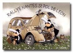 Poster with cartoon of two Bigoudennes and a Citroën Car Illustration, Fantasy Illustration, Illustrations, Car Humor, France Travel, Hot Cars, Faeries, Motor Car, Caricature