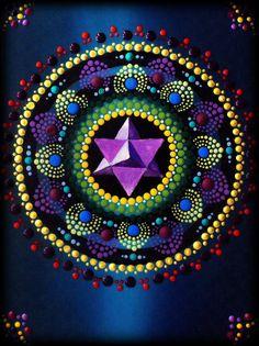 Lotus Flower Merkaba Mandala Painting by by ArtbyKirstyRussell
