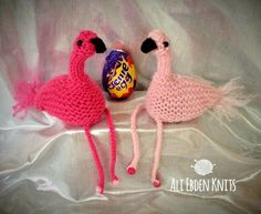 Easter Flamingo Creme Egg Covers x 2 hand knitted by original designer