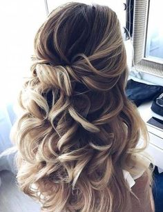 Wedding hairstyles for bridesmaids half up up dos 49 Ideas #wedding #hairstyles Down Hairstyles, Braided Hairstyles, Wedding Hairstyles, Hairstyles 2018, Trendy Hairstyles, Summer Hairstyles, Engagement Hairstyles, Pixie Hairstyles, Bridesmaids Hairstyles