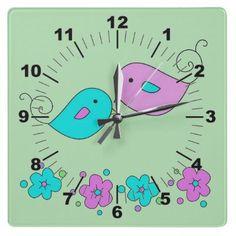 Tender Birds Wall Clock by elenaind