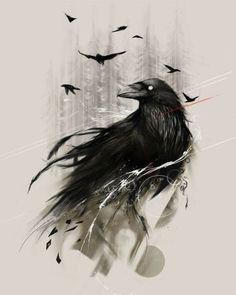 Эскиз тату с воронами