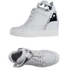 Cafènoir High-tops & Trainers ($130) ❤ liked on Polyvore featuring shoes, sneakers, white, white high tops, leather high top sneakers, leather high tops, white flat shoes and white high top shoes