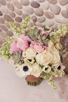 Wow bouquet. Pink, white and green. Roses, anemones, succulents and greenery.