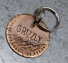 Custom Dog ID Tag, Grizzly, in XL 1.5'' Distressed Bronze on Etsy, $22.00