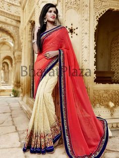 Designer beige and coral color jacquard #Net and #Georgette #Saree with glossy kundan, cutdana, beads, resham thread and mirror work. Item Code : SKD6040 http://www.bharatplaza.com/new-arrivals/sarees.html
