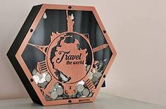 """""""Travel the World"""" Premium Laser Cut Steel Coin Bank Saving Money With Our Well Design For Own Saving Home Decorations For Well As Chic And Cool Present For Yours Special One Dollar Tree Cricut, Money Saving Box, Travel Fund, Laser Cut Steel, Clay Wall Art, Money Bank, Cool Presents, 3d Prints, Shop Plans"""