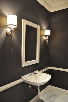 Black and white classical bathroom Switzerland, Black And White, Interior Design, Mirror, Bathroom, Luxury, Projects, House, Furniture