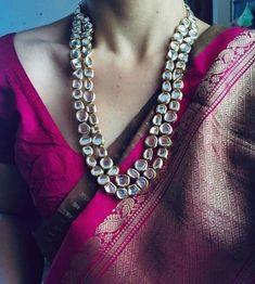 Temple jewelry traditional necklace set, kundan stone south indian jewelry, statement bridal set, golden wedding jewelry - Lynne Seawell's World Saree Jewellery, Temple Jewellery, Bridal Jewellery, Indian Wedding Jewelry, Indian Jewelry, Indian Bridal, Royal Jewelry, Gold Jewelry, Antique Jewellery