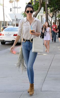 Kendall Jenner from Gimme That! Celeb Boots  In Saint Laurent Blake Jodhpur Suede Ankle Boots, $995