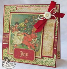 Beautiful Christmas Emporium card from @Gloria Stengel ! Love the ribbon and button #graphic45 #cards #christmas
