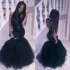 Sparkly Black Girls Mermaid African Prom Dresses 2017 Halter Neck Sequins Tulle Sexy Corset Formal Dress Cheap Party Pageant Gowns Prom Dresses African Prom Dresses Mermaid Prom Dresses Online with 128.0/Piece on Fashionhouse2020's Store | DHgate.com