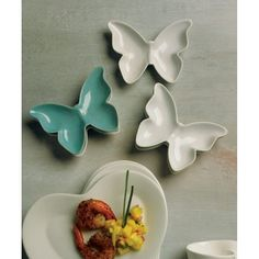 Ceramic Butterfly Dishes / Holders (Set of 6 Dishes) [977-8541 Ceramic Butterfly Dish] : Wholesale Wedding Supplies, Discount Wedding Favors, Party Favors, and Bulk Event Supplies