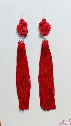 Soutache earrings with tassel - long  #longearrings #tasselearrings #soutachearrings #tassel