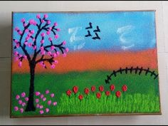 Beautiful, easy Pink Firetree and red roses garden Scenery Rangoli by Sonali Gaidhane! - YouTube