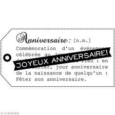 Tampon bois  Anniversaire - Joyeux anniversaire Etiquette - 6 x 4 cm - Photo n°2