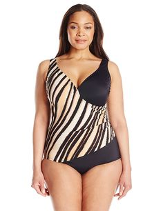 f7414cdb8f Maxine of Hollywood Women s Plus-Size Feathered Beauty Surplice Swimsuit     Discover this special