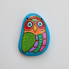 Hand-painted-stone-owl