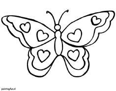Kleurplaat Valenijn en liefde. Vlinder met hartjes