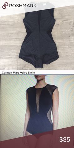 Unique one-piece swimsuit This one piece offers coverage and sexiness. Really unique and excellent quality. Used a few times but in excellent condition. Carmen Marc Valvo Swim One Pieces