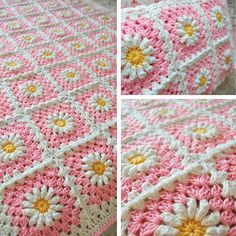 tillie tulip - a handmade mishmosh: Pink (shasta) daisy blanket is finished!