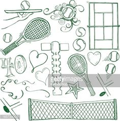 Pen and ink doodles of tennis sports equipment and items. Compound...