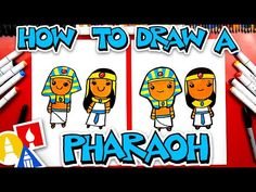 How To Draw An Ancient Egyptian King And Queen (Pharaoh) - YouTube Egyptian Drawings, Ancient Egyptian Art, Kandinsky For Kids, Egyptian Kings And Queens, Egypt Queen, Queen Drawing, Art For Kids Hub, Egyptian Mummies, Marker Paper