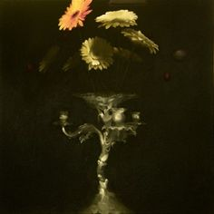 """Flowers with Silver 131 (2013)  27.5"""" x 27.5"""" Exclusive to Opus Oil on canvas Signed by the artist"""