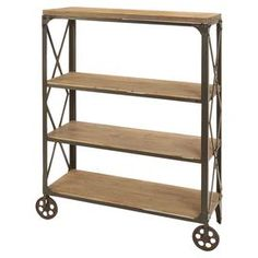 """Industrial-style bookshelf with front wheels.    Product: BookshelfConstruction Material: Wood and metalColor: BrownFeatures: Three shelves and two castersDimensions: 49"""" H x 35"""" W x 14"""" DNote: Casters are for decorative purposes onlyCleaning and Care: Wipe with dry cloth"""