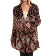 """BLACK AND BROWN PRINTED CARDIGAN Too beautiful to pass up!  Long sleeve wrap sweater. Cascading collar style. No frontal closure. Check out the patterns and the colors!!  Yummy!!  55% ramie 45% cotton. XS:  L32"""" XSS - 1  Please comment size needed below.  PLEASE DO NOT BUY THIS LISTING. Allow me to make your separate listing for you or help you make a bundle ❤️.  NO PAYPAL NO TRADES. Price is firm unless bundled. Sweaters"""