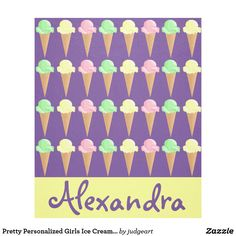 Pretty Personalized Girls Ice Cream Cone Fleece Blanket