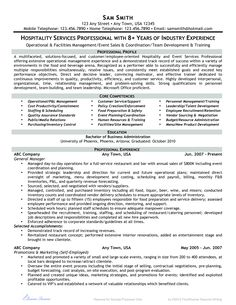 resume example for hospitality industry