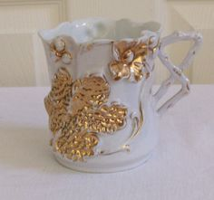Rare Mug Vintage Hand painted White and Gold by TimeGoneByVintage, $30.00