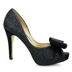Sapato Peep Toe Feminino Laura Porto -  Preto
