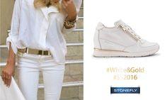 Chi l'ha detto che l'abbinamento bianco e oro va bene solo per il matrimonio? Provate un outfit casual e total white, aggiungendo solo dei dettagli in oro... per esempio quelli delle scarpe! Le sneakers Jackie sono perfette: eleganti ed informali al tempo stesso, scoprite di più su > http://www.stonefly.it/it/2/collezione/donna/533/jackie-3.html