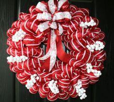 Peppermint Christmas Deco Mesh Wreath.