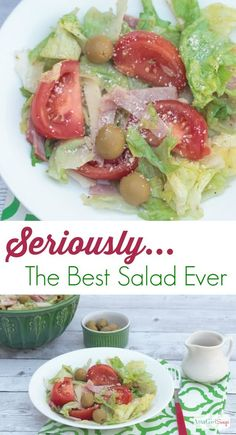 Seriously...the best salad ever - a make-at-home version of the world famous Columbia Restaurant 1905 Salad. It is a garlic and olive lover's delight. and so easy to make. #spon #OlivesFromSpain @OlivesSpain