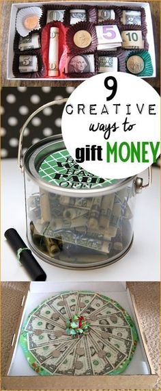 9 Creative Ways to Gift Money.  Gift money for all occasions.  Wedding gifts, bridal gifts, graduation gifts, birthday gifts and holiday gift ideas.  Perfect gifting ideas for teens. Easter basket stuffers.