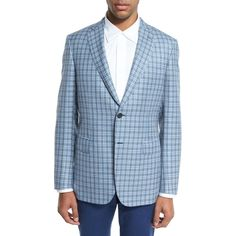Brioni Check Plaid Two-Button Sport Coat ($3,950) ❤ liked on Polyvore featuring men's fashion, men's clothing, men's sportcoats, grey, men's apparel jackets and brioni