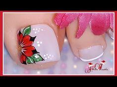 Decoración de uñas flor/decoración de uñas rojo/diseño de uñas flor en rojo - YouTube Cute Pedicure Designs, Toenail Art Designs, Classy Nail Designs, Pink Nail Designs, Cute Toe Nails, Cute Acrylic Nails, Toe Nail Art, Cute Pedicures, Special Nails
