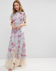 Image 4 ofASOS WEDDING Maxi Dress With Lace Detail in Print