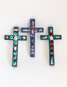 Mexican milagros on wooden cross // Charms Spring by TheVirginRose, $19.50 each