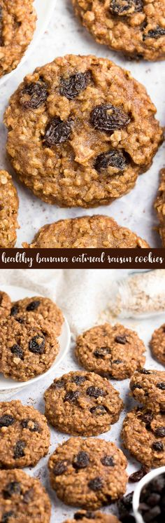 } Banana Oatmeal Raisin Cookies -- sweet, chewy & only 92 calories! And they're SO easy to make! You'll never need another banana cookie recipe again! Healthy Oatmeal Cookies, Healthy Cookie Recipes, Oatmeal Cookie Recipes, Oatmeal Raisin Cookies, Healthy Sweets, Healthy Baking, Baking Recipes, Eating Healthy, Clean Eating