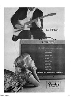 early Telecaster add with little girl going deaf.