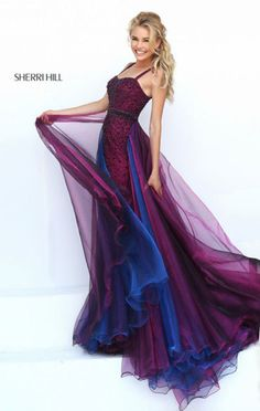 You'll look stunning in this floor length beaded formal gown with a gorgeous two tone skirt by Sherri Hill. Description from simplydresses.com. I searched for this on bing.com/images