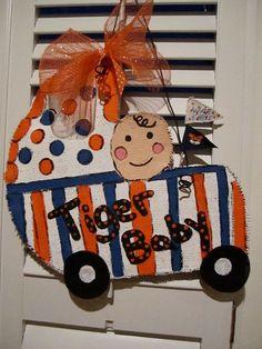 Tiger Baby/Auburn Tigers Burlap Door Hanging/ Door Decoration. $32.00, via Etsy.